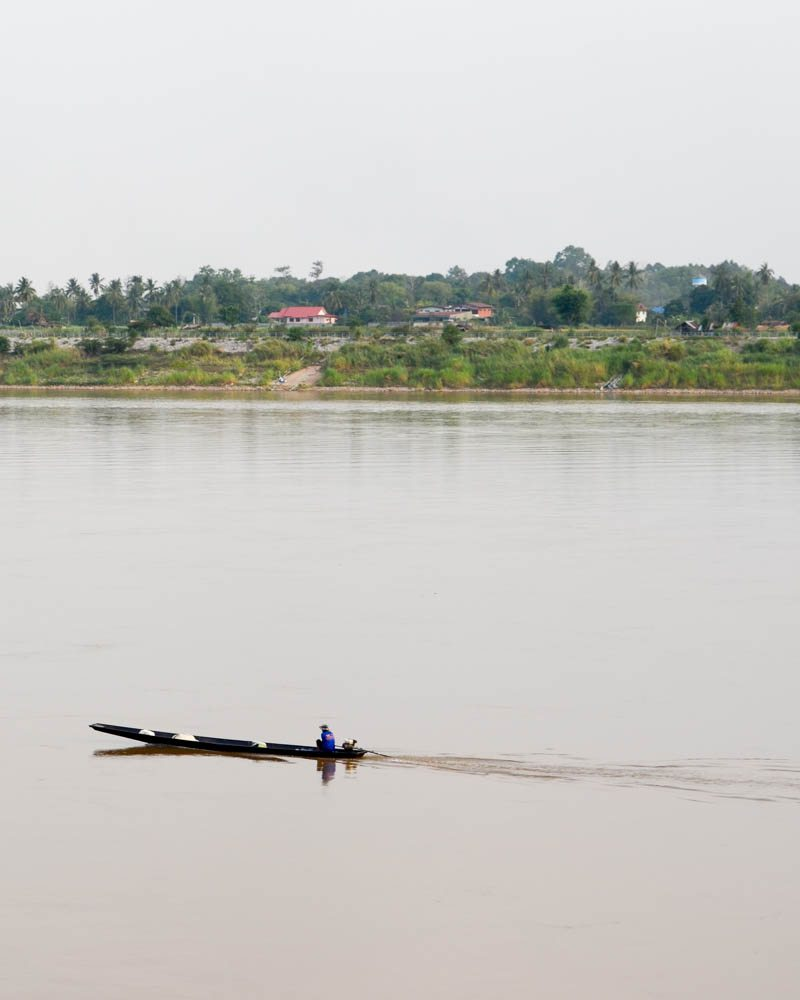 Pirogue on the Mekong River; photo taken from Vientiane side
