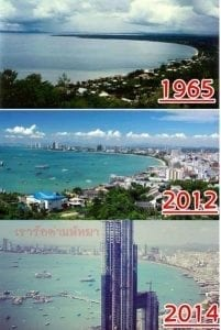 Pattaya beach before and after